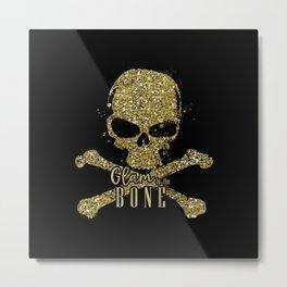 Black Glam to the Bone Skull Metal Print