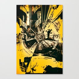 EXPLORE - Abstract surreal yellow black collage Part 2/3 Canvas Print
