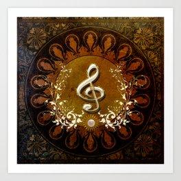 Music, wonderful decorative clef Art Print