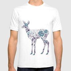 Flower Deer Mens Fitted Tee MEDIUM White
