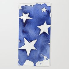 Stars Abstract Blue Watercolor Geometric Painting Beach Towel