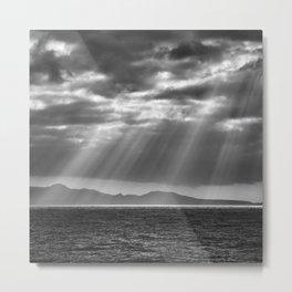Tenerife Island. Sunrays.. Bw Metal Print