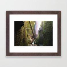 Moss Cave + Waterfall Framed Art Print