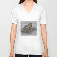 frog V-neck T-shirts featuring frog by v0ff