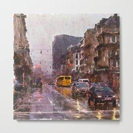 Rainy Day Traffic Metal Print