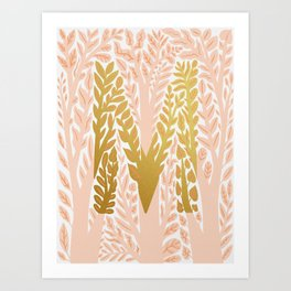 Botanical Metallic Monogram - Letter M Art Print