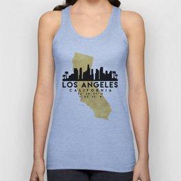 LOS ANGELES CALIFORNIA SILHOUETTE SKYLINE MAP ART Unisex Tank Top