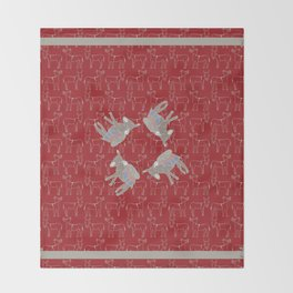 © Litte Burro Wild West Red Throw Blanket