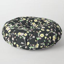 Spring Blossom black Background Floor Pillow