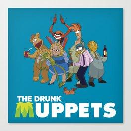 Drunk Muppets Cartoon Parody Canvas Print
