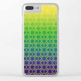 Geometry Star Pattern Yellow Green Blue Clear iPhone Case