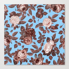 Copper and Blue Vintage Roses on Sky Blue Canvas Print