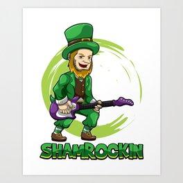 Shamrockin - Leprechaun With E-Guitar - Musician Art Print