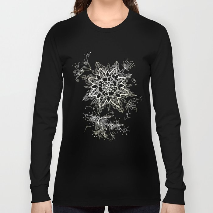 Zendala snowflake denim Long Sleeve T-shirt