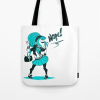 nope Tote Bags featuring Nope! by roryseviltwin