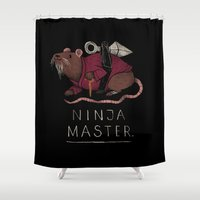 ninja Shower Curtains featuring ninja master. by Louis Roskosch