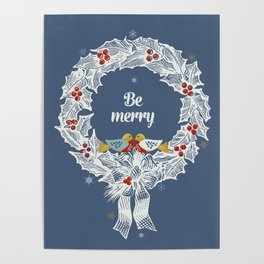 Christmas wreath with birds Poster