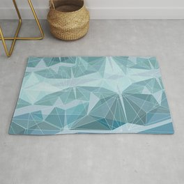 Geometric Pattern triangles Blue modern Rug