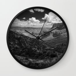 Dramatic Cloudy Mountain View at Lost Mine Trail, Big Bend Wall Clock