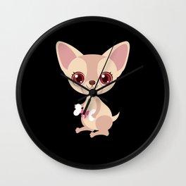 Children Chihuahua Girl Dog Love Motif Wall Clock