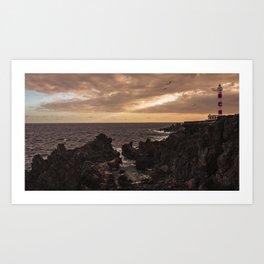 The Lighthouse guarding the coast. Art Print