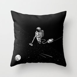 Space Clean Up by Astronaut Throw Pillow