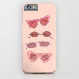 Pink sunglasses illustration iPhone Case