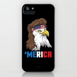 Patriotic Mullet Eagle   Merica Stars and Stripes iPhone Case