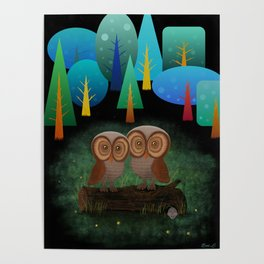 Owl Pals In The Forest Poster