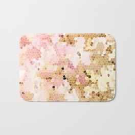 Flower Mosaic Millennial Pink and Golden Yellow Abstract Art | Honey Comb | Geometric Bath Mat