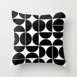 Mid Century Modern Geometric 04 Black Throw Pillow