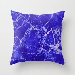 Cobalt Marble Throw Pillow