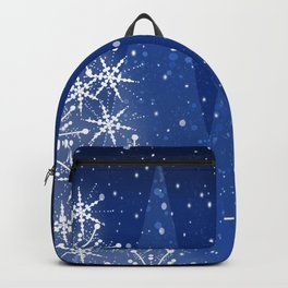 Snowy Night Christmas Tree Holiday Design Backpack