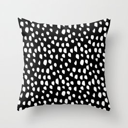 Handdrawn drops and dots on black-Mix & Match with Simplicty of life Throw Pillow