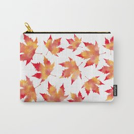 Maple leaves white Carry-All Pouch