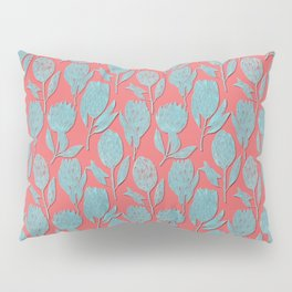 Protea on coral pink Pillow Sham