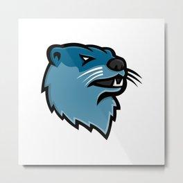 River Otter Head Mascot Metal Print