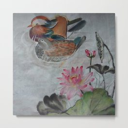 Chinese Painting - A couple of Chinese Ducks in a Pool of Lotus Metal Print