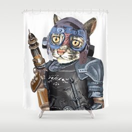 Naughty Pilot Cat with Laser Gun and Heavy Armor Shower Curtain