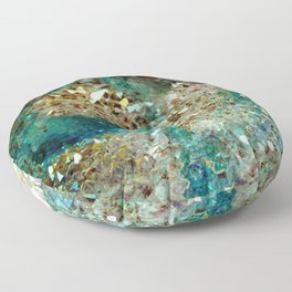 SPARKLING GOLD AND TURQUOISE CRYSTAL Floor Pillow