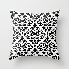 Scroll Damask Big Pattern Black on White Throw Pillow
