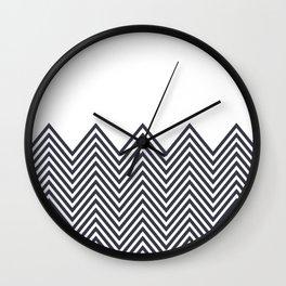 Gray white chevron cool mix pattern Wall Clock