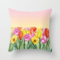 tulips Throw Pillows featuring Tulips by Julia Badeeva