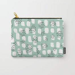Spotted series abstract dashes and dots mint black and white raw paint texture Carry-All Pouch
