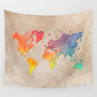 maps Wall Tapestries featuring World Map Maps by jbjart