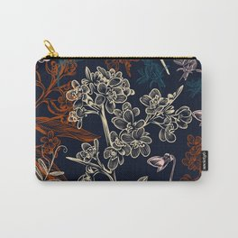 Elegant pattern with field flowers. Dark blue Carry-All Pouch
