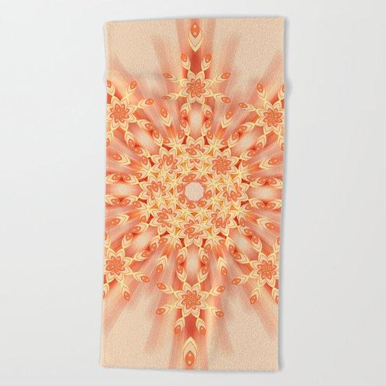 Mandala radial in orange  Beach Towel