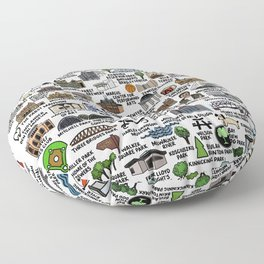 Milwaukee Map  Floor Pillow