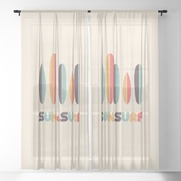 Sun & Surf Surfboards - Retro Rainbow Sheer Curtain
