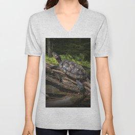 Painted Turtle sitting on a Log Unisex V-Neck